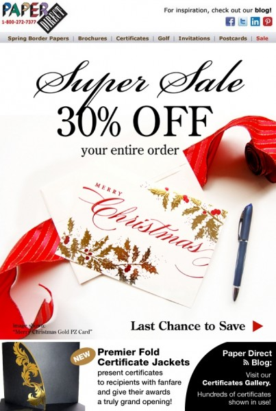 Paper Direct 30% Off Super Sale Christmas card email mock up