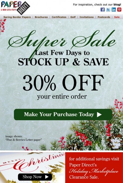 Paper Direct 30% Off Super Sale Letter Paper email mock up