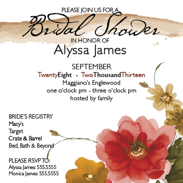 bridal shower invitation with watercolor flowers