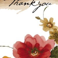 bridal shower thank you card with watercolor flowers