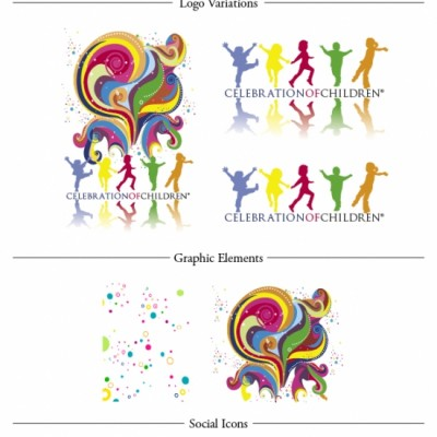 Celebration Of Children color palette, logos, art, social media icons and fonts designed by Noami Foster