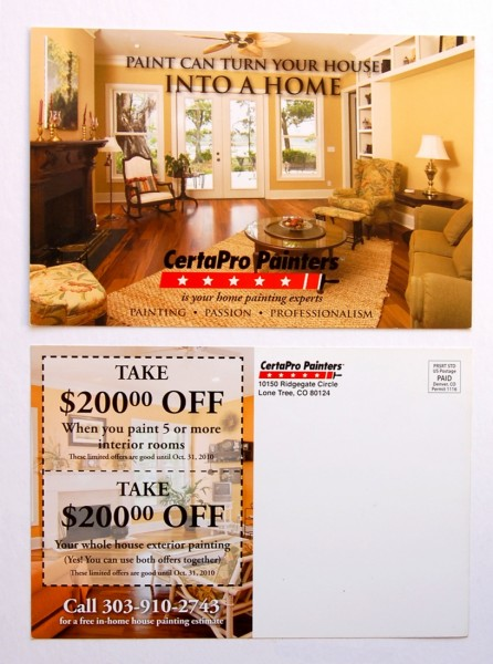 CertaPro oversized postcard front and back design