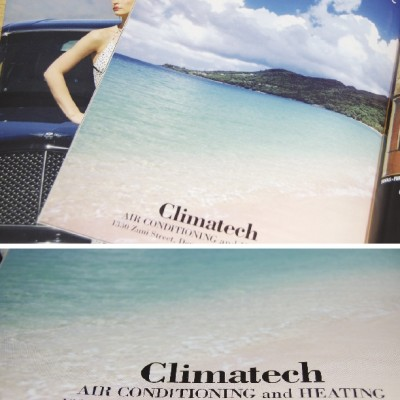 Climatech full page magazine Ad with an beach designed by Noami Foster for luxury magazined published by The Denver Post