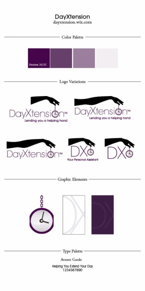 DayXention color palette, logo, images and fonts designed by Noami Foster