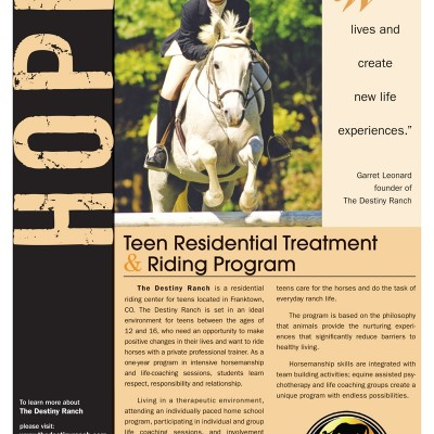 The Destiny Ranch Flyer with picture of a young girl riding a horse designed by Noami Foster