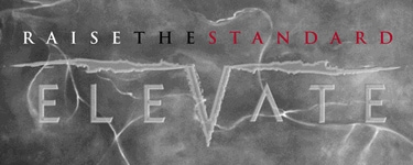 red, white, black, metallic Elevate - Raise The Standard logo designed by Noami Foster