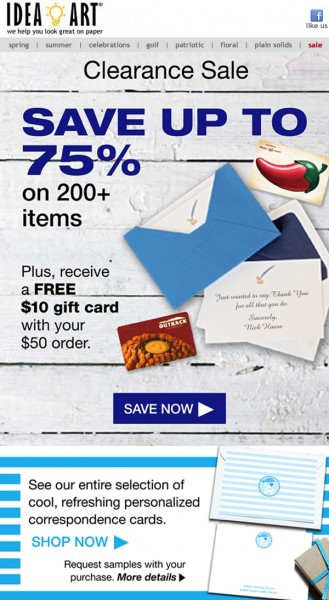 Idea Art 75% off and gift card email mock up