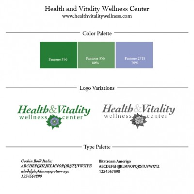 Green and blue Logos, color palette, fonts for Health Vitality wellness center designed by Noami Foster