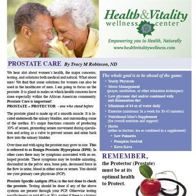 Health and Vitality newsletter with images of mature african american couple, stethoscope, and apple designed by Noami Foster