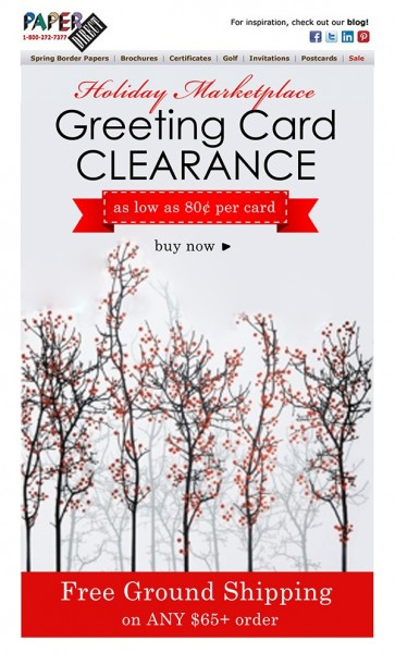 Paper Direct Greeting Card Clearance email mock up