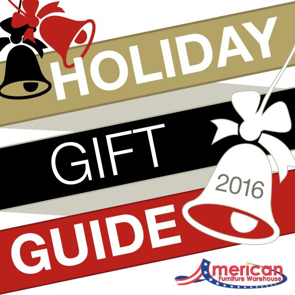 American Furniture Warehouse Holiday Gift Guide 2016 red gold black banner with red black white bells