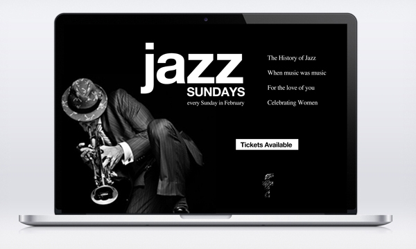 Jazz Sunday email mock up for Shadow Theatre Company