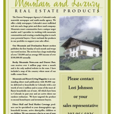 Green Mountain Real Estate Account Rep. information sheet designed by Noami Foster for The Denver Post