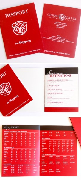 Cherry Creek Mall red passport booklet