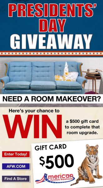 AFW Presidents' Day Contest email with Denverpost.com