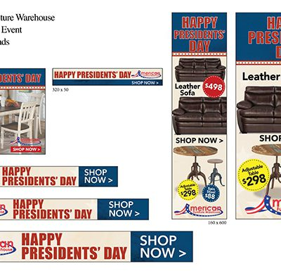 American Furniture Warehouse Presidents' Day digital display ads 2017