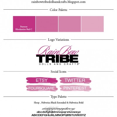 Pantone Pink colorpalette, logo, social icon and fonts for Rainbow Tribe designed by Noami Foster