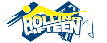 Blue and Yellow abstract Rolling 15 logo designed by Noami Foster