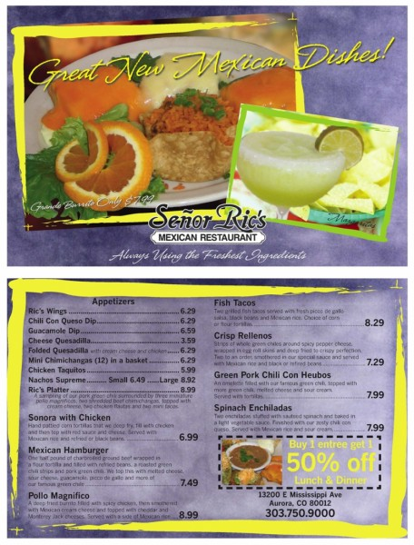 Senor Rics Direct Mail postcard with dinner plate, margarita and coupon designed by Noami Foster for The Denver Post