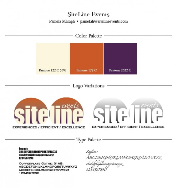 color palette, logos, fonts for sile line events designed by Noami Foster