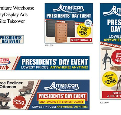American Furniture Warehouse Denver Post Sitewide Takeover Presidents' Day digital display ads
