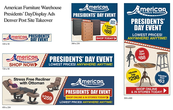 American Furniture Warehouse Denver Post Sitewide Takeover Presidents' Day Contest digital display ads