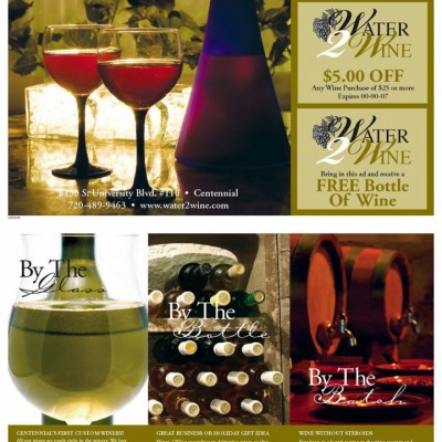 Water 2 Wine Direct Mail postcard with wine glasses, wine barrels and wine bottles designed by Noami Foster for The Denver Post.