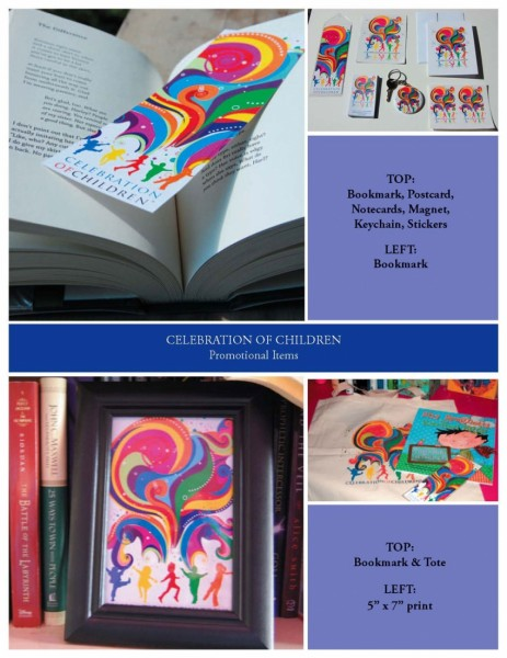 Celebration Of Children bookmark, canvas bag, keychain, notecards, stickers designed by Noami Foster