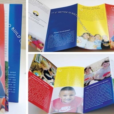 Children's Outreach Project Main Brochure 3 panels full color designed by Noami Foster