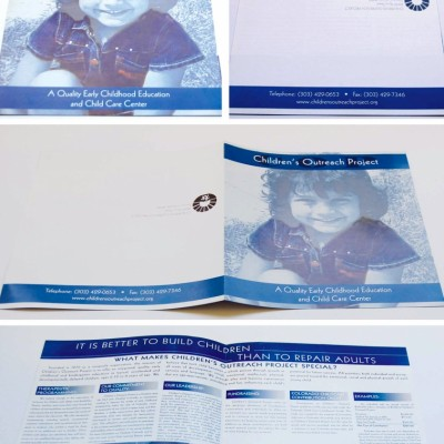 Blue Children's Outreach Project donations brochure designed by Noami Foster