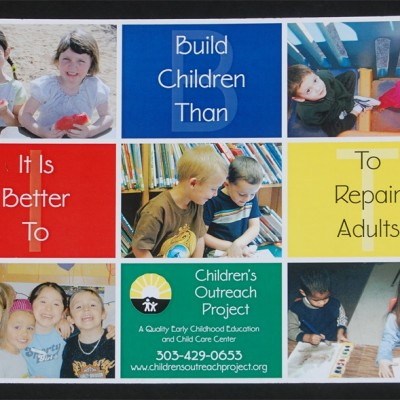 Children's Outreach Project primary colors horitontal poster designed by Noami Foster