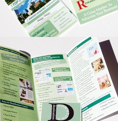 The Denver Newspaper Agency product guide for account executives designed by Noami Foster for The Denver Newspaper Agency