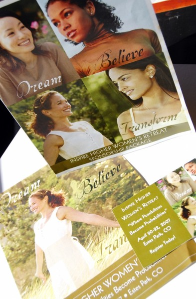 Higher sponsorship packet includes brochure, insert, and postcard designed by Noami Foster