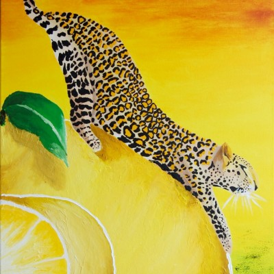 Yellow lemons and a leopard