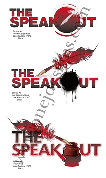The Speakout logo samples designed by Noami Foster for onejdesigns