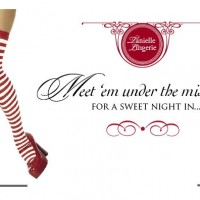 Meet Me Under The Mistletoe front postcard design for Tanielle Lingerie designed by Noami Foster of onejdesigns