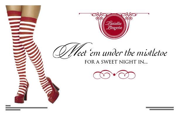 Meet Me Under The Mistletoe back postcard design for Tanielle Lingerie