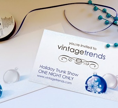 Vintage Trends speculative marketing material using Cobalt Blue Postcard from Paper Direct