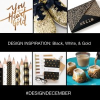 a collection of Design Inspiration Black, White and Gold pencils, stationery, typography, shoes and food