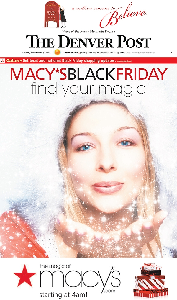 Denver Post Front Page Spec for Macy's Black Friday Sale Find Your Magic