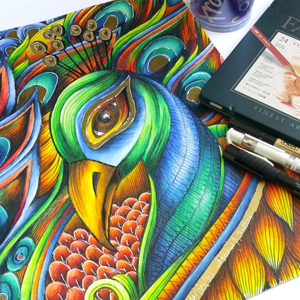 Faber Castell Polychromos Peacock Coloring Page