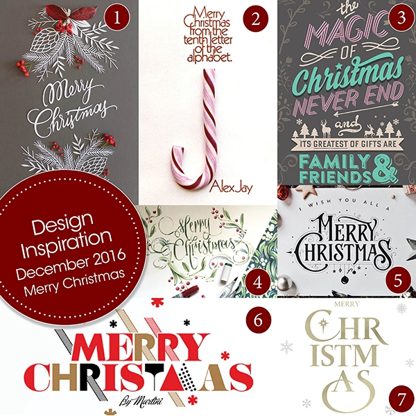 Design Inspiration December 2016 Merry Christmas Typography