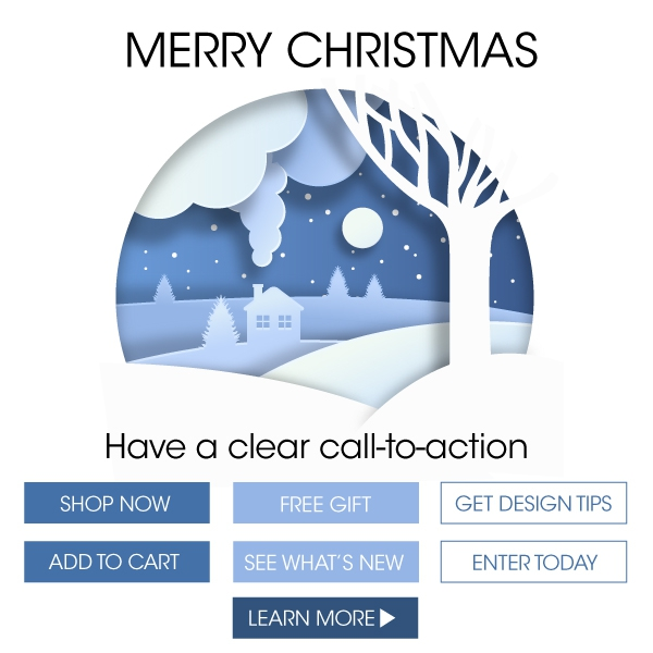 Call-To-Action buttons Shop Now, Add To Cart, Free Gift, See What's New, Learn More, Get Design Tips, Enter Today