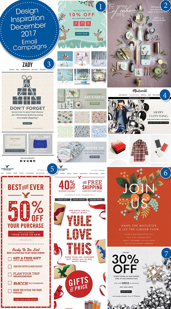 7 Design December 2017 Holiday Email Campaigns from Kate Spade, Madewell, American Eagle, Zady and more.
