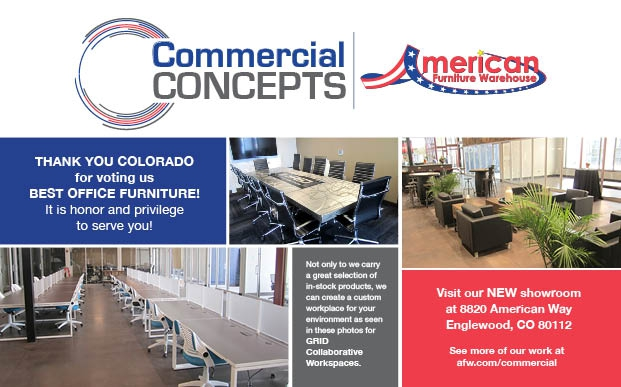 AFW Commercial Concepts half page ad with Colorado Biz magazine Best Of 2017 spec 1