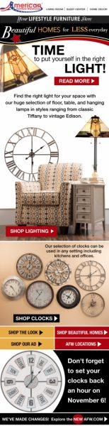 AFW Beautiful Homes lighting email campaign