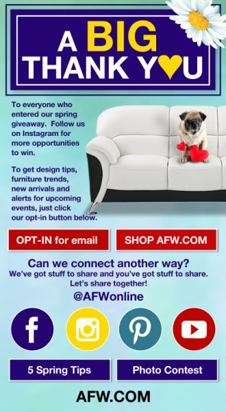 AFW Spring Giveaway with The Denver Post Thank You Email